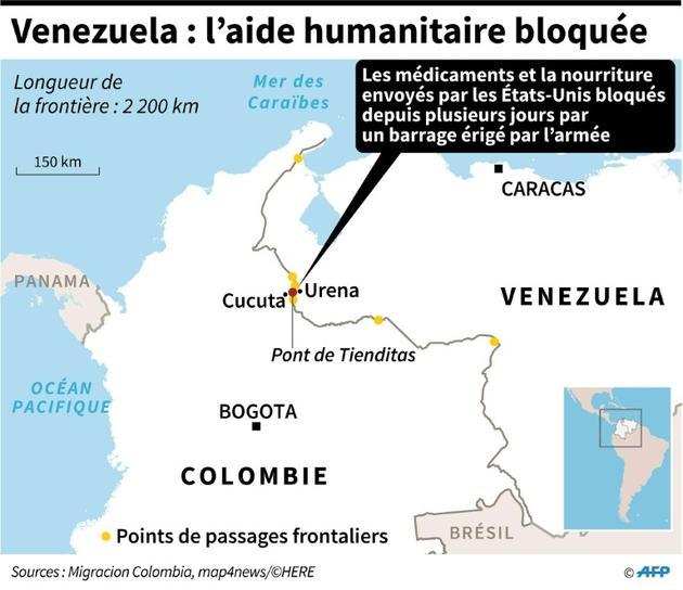 Venezuela : l'aide humanitaire bloquée [Nicolas RAMALLO / AFP]