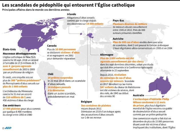 Les scandales de pédophilie qui entourent l'Eglise catholique [Gal ROMA / AFP]