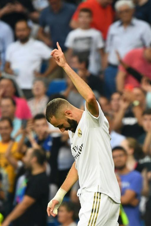L'attaquant français Karim Benzema lors du match du Real Madrid en Liga, le 24 août 2019, au stade Santiago Bernabeu [GABRIEL BOUYS                      / AFP]