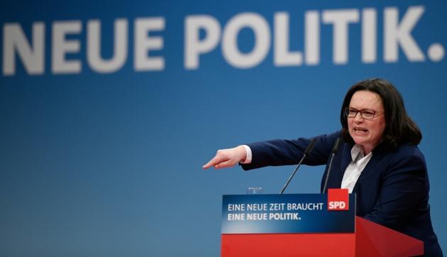 Andrea Nahles, le 21 janvier 2018 à Bonn [SASCHA SCHUERMANN / AFP/Archives]