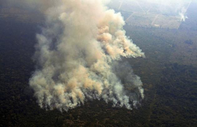 Photo aérienne de feux dans la forêt amazonienne à environ 63 km de Porto Velho, dans l'Etat septentrional brésilien de Rondonia, le 23 août 2019 [Carl DE SOUZA / AFP]