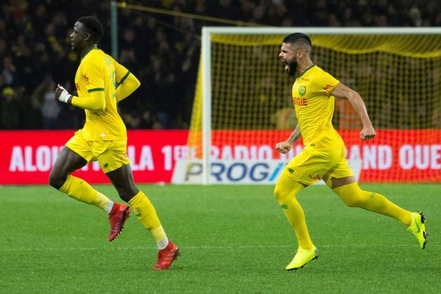 Le Nantais Abdoulaye Touré (g) exulte, suivi par son coéquipier Lima, après avoir marqué contre Marseille, le 5 décembre 2018 à Nantes   [SEBASTIEN SALOM GOMIS / AFP]