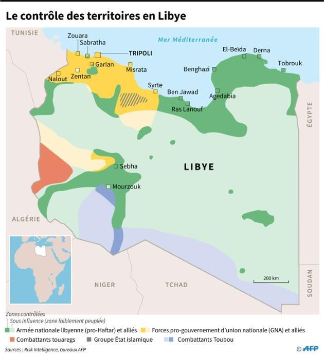 Le contrôle des territoires en Libye [Sophie RAMIS / AFP]