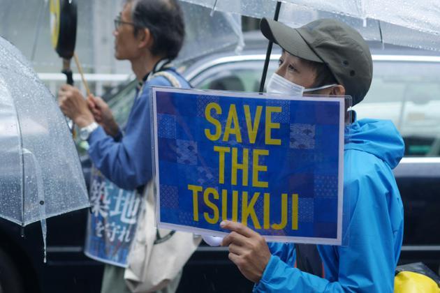 Des manifestants contre le déménagement du mythique marché au poisson de Tsukiji vers le site de Toyosu à Tokyo, le 29 septembre 2018 [Karyn NISHIMURA-POUPEE / AFP/Archives]