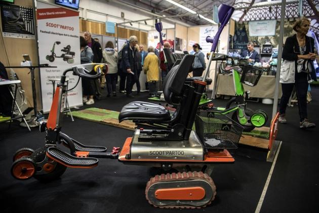 Une des inventions présentées au concours Lépine, le scooter tout-terrain, le 30 avril 2019 [Christophe ARCHAMBAULT / AFP]