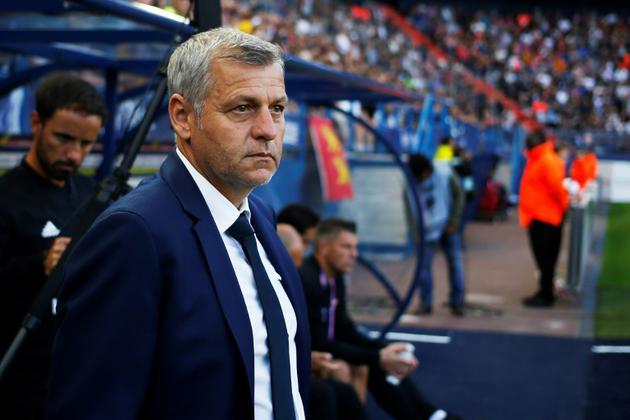 L'entraîneur de l'OL Bruno Genesio suit le match face à Caen au stade Michel-d'Ornano, le 15 septembre 2018 [CHARLY TRIBALLEAU / AFP/Archives]