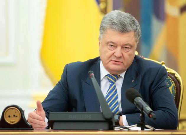 Le président ukrainien Petro Porochenko lors d'une réunion du Conseil de défense nationale, le 26 novembre 2018 à Kiev [Mykhailo Markiv / Service de presse de la présidence ukrainienne/AFP]