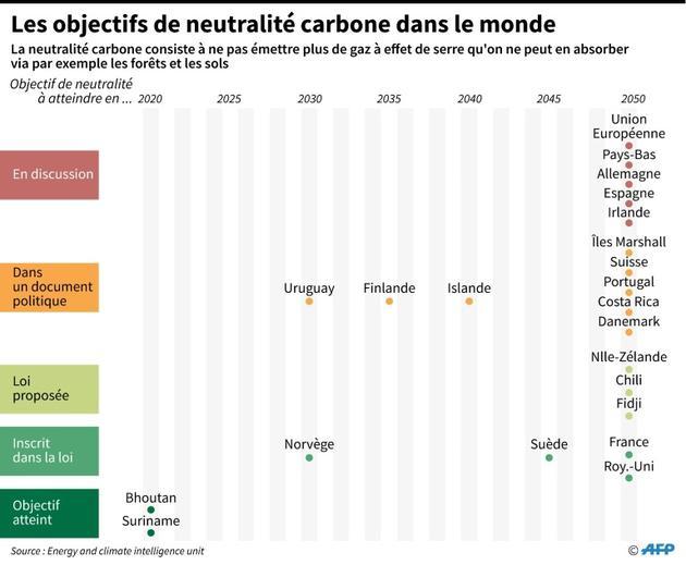 Les objectifs de neutralité carbone dans le monde [Simon MALFATTO / AFP]
