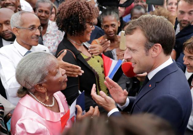 Le président Emmanuel Macron à Goyave en Guadeloupe, le 28 septembre 2018 [Thomas SAMSON / POOL/AFP]