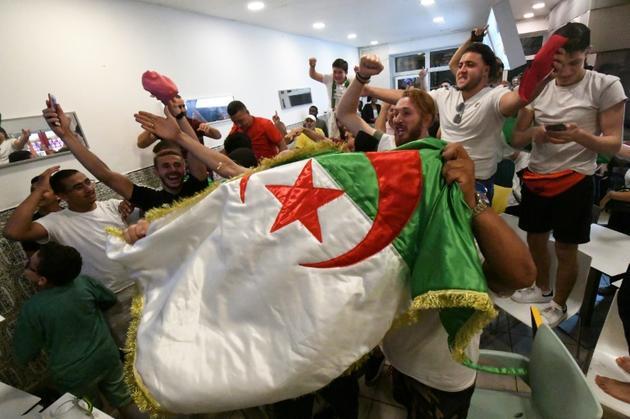 Des supporters de l'Algérie en liesse dans un restaurant à Bordeaux, le 14 juillet 2019 [MEHDI FEDOUACH / AFP]