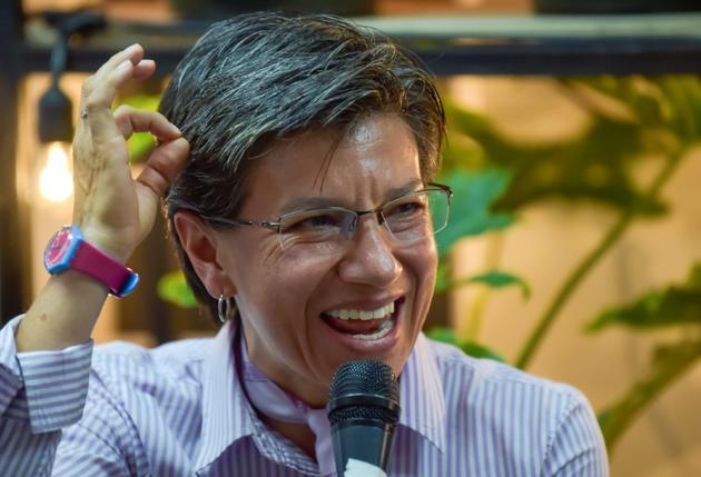 La Colombienne Claudia Lopez lors d'une réunion publique le 22 octobre 2019 à Bogota, candidate à la mairie de la capitale. [Raul ARBOLEDA / AFP]