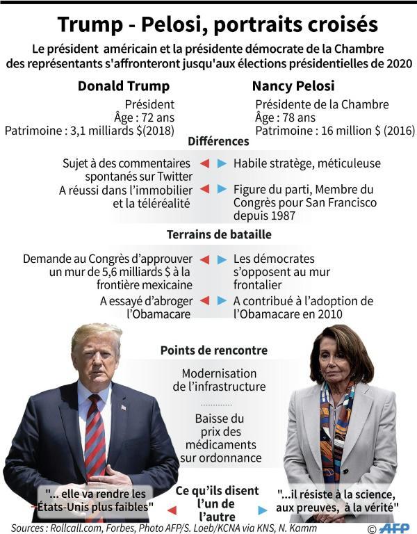 Donald Trump et Nancy Pelosi, portraits croisés [John SAEKI / AFP]