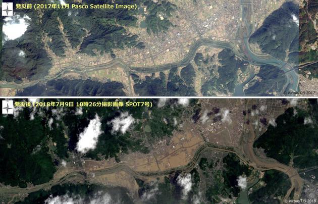 Comparatif de vues satellitaires de la ville de Kurashiki le 17 novembre 2017 (haut) et le 9 juillet 2018 (bas). AFP PHOTO / PASCO / Airbus DS 2018 [Handout / PASCO/AFP]