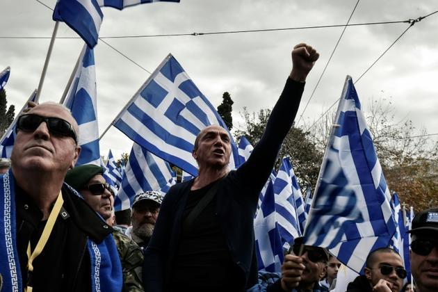 Des opposants à l'accord avec Skopje sur le nom de la Macédoine dans le centre d'Athènes, le 20 janvier 2019 [LOUISA GOULIAMAKI / AFP]