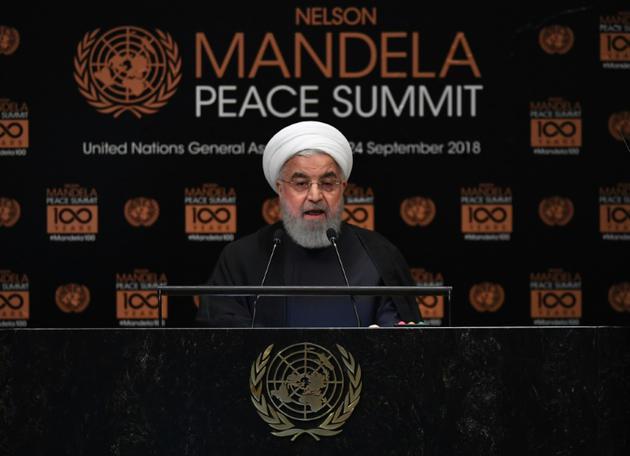 Le président iranien Hassan Rohani, lors d'un sommet en l'honneur de Nelson Mandela, le 24 septembre 2018 à New York, à la veille de l'ouverture de la 72e Assemblée générale annuelle de l'ONU [TIMOTHY A. CLARY / AFP]