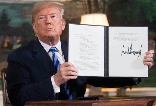 Donald Trump le 8 mai 2018, après avoir décrété le retrait des Etats-Unis de l'accord sur le nucléaire iranien<br /> [SAUL LOEB / AFP/Archives]