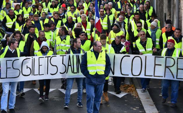 """Manifestation de """"gilets jaunes"""", à Rochefort (Charente-Maritime) le 24 novembre 2018 [XAVIER LEOTY / AFP]"""