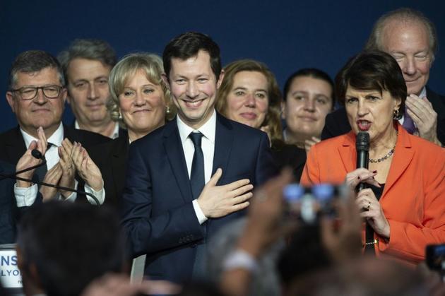 Francois-Xavier Bellamy (C) tête de liste LR pour les Européennes le 16 mars 2019 à Lyon [ROMAIN LAFABREGUE / AFP]