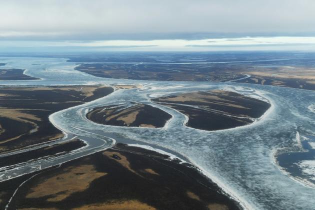 Vue des zones glacées sur le fleuve Kuskokwim près de la ville de Bethel, dans le delta du Yukon, le 12 avril 2019 en Alaska [Mark RALSTON / AFP]