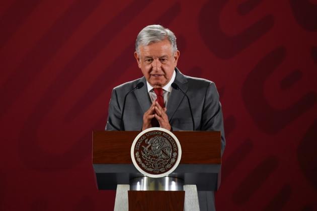 Le président mexicain Andrés Manuel Lopez Obrador lors d'une conférence de presse à Mexico, le 31 mai 2019 [Alfredo ESTRELLA / AFP]