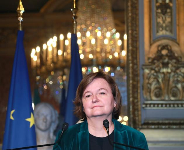 La ministre des Affaires européennes  Nathalie Loiseau, lors d'une conférence de presse le 15 mars 2019 à Paris [JACQUES DEMARTHON / AFP]