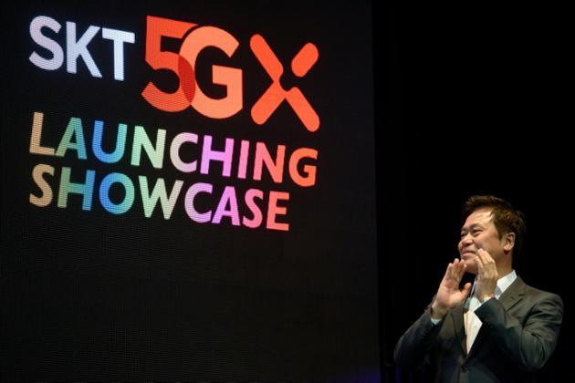 Le PDG de SK Telecom, Park Jung-ho, lors d'un évènement marquant le lancement de la 5G à Séoul, le 3 avril 2019 [Ed JONES / AFP]