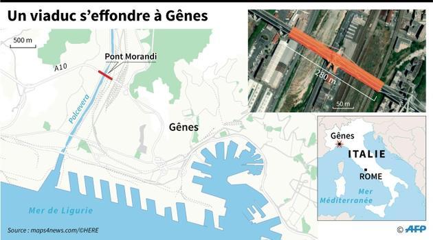 Un viaduc s'effondre à Gênes [Simon MALFATTO / AFP]