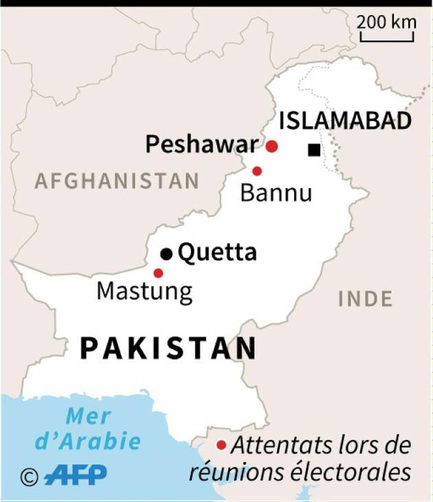 Carte du Pakistan localisant des attentats à la bombe visant des réunions électorales depuis le 11 juillet [AFP   / AFP]