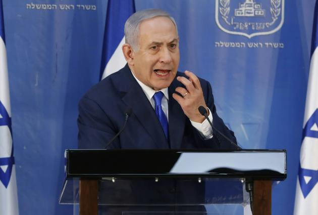 Le Premier ministre israélien Benjamin Netanyahu lors d'une conférence de presse à Tel-Aviv, le 4 décembre 2018 [Jack GUEZ / AFP]