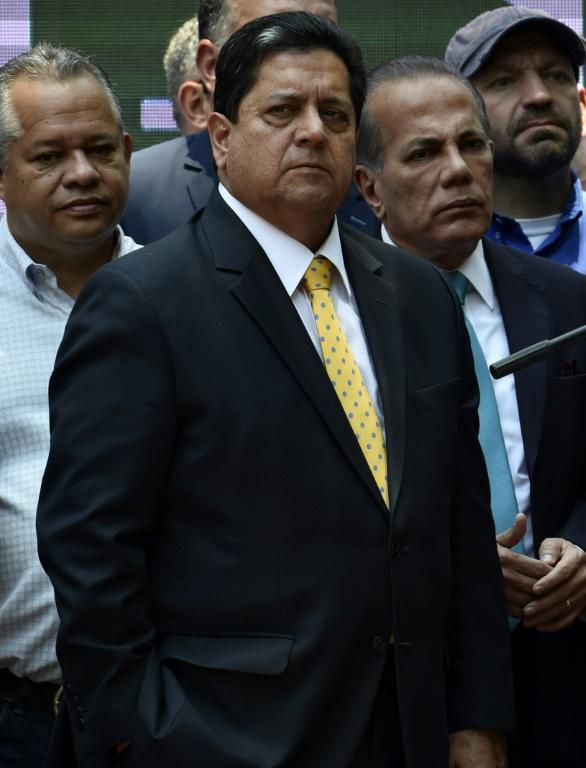 Le vice-président de l'Assemblée nationale du Venezuela, Edgar Zambrano, à Caracas le 27 mars 2019 [YURI CORTEZ / AFP]