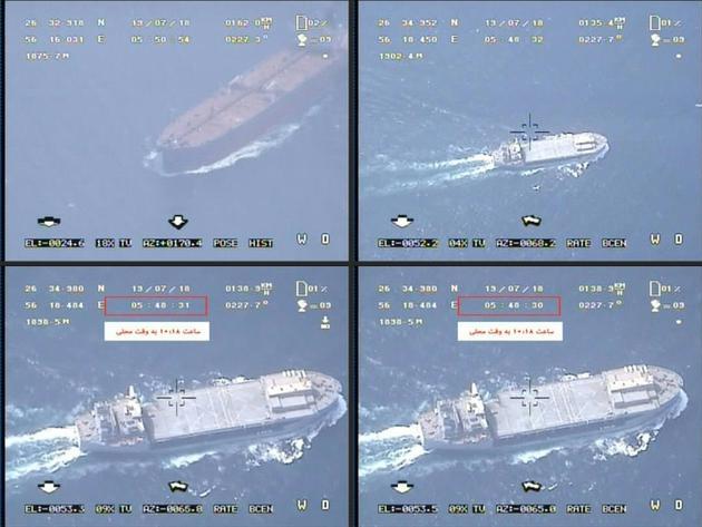 Photomontage créé à partir de captures d'écrans d'une vidéo diffusée par les Gardiens de la Révolution iraniens le 19 juillet 2019 qui montreraient des images obtenues par un drone iranien de  plusieurs navires [- / Iran's Islamic Revolutionary Guard Corps (IRGC)/AFP]