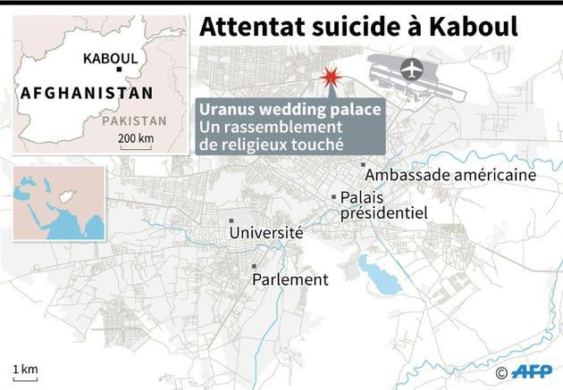 Localisation de l'attentat suicide qui a frappé un rassemblement de religieux mardi à Kaboul [AFP / AFP]