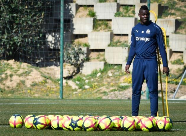 L'attaquant italien de Marseille Mario Balotelli à l'entraînement le 22 février 2019 [GERARD JULIEN / AFP/Archives]