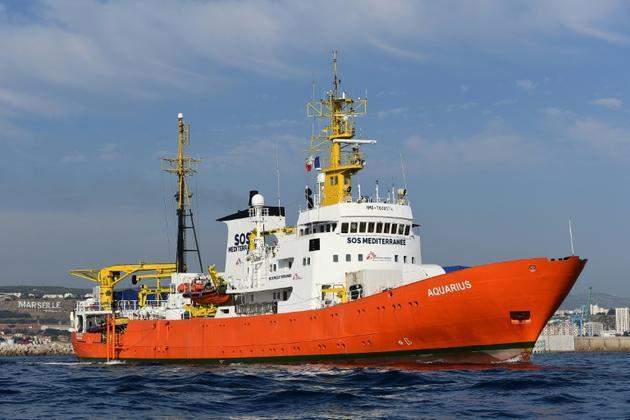 Le navire humanitaire Aquarius quitte le port de Marseille, le 1er août 2018 [BORIS HORVAT / AFP/Archives]