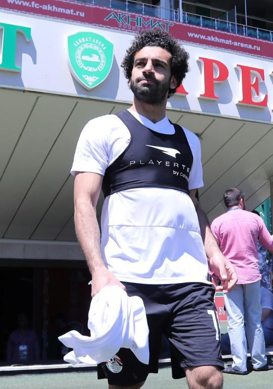 L'attaquant vedette de l'équipe d'Egypte Mohamed Salah à l'entraînement le 13 juin 2018 à Grozny  [KARIM JAAFAR / AFP]