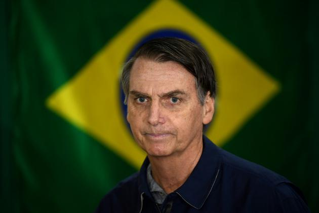 Le candidat d'extrême droite Jair Bolsonaro, le 7 octobre 2018 à Rio de Janeiro, au Brésil [Mauro PIMENTEL / AFP/Archives]