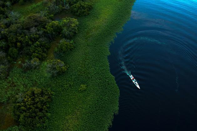 Vue sur le lac Maciel dans la réserve de Mamiraua, au Brésil, le 28 juin 2018 [Mauro Pimentel / AFP]