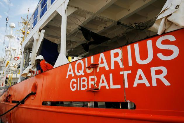 L'Aquarius, le bateau de l'ONG SOS Méditerranée participe au sauvetage de migrants en Méditerranée, sur le port de Marseille le 29 juin 25018 [PAU BARRENA / AFP/Archives]