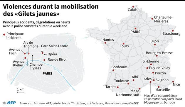 """Violences durant la mobilisation des """"Gilets jaunes"""" [ / AFP]"""