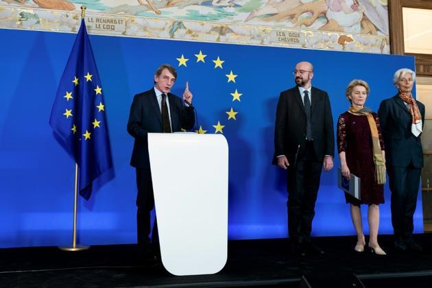 Les nouveaux leaders de l'Union européenne, de gauche à droite le président du Parlement européen David Sassoli, le président du Conseil européen Charles Michel, la présidente élue de la Commission européenne Ursula von der Leyen, et la présidente... [Kenzo TRIBOUILLARD / AFP]