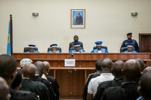 Les juges de la Cour constitutionnelle de la République démocratique du Congo (RDC), le 19 janvier 2019 à Kinshasa [Caroline THIRION / AFP]