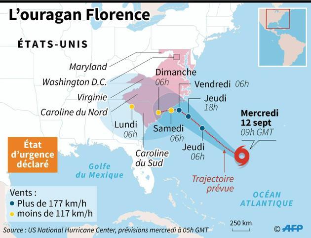 Trajectoire prévue de l'ouragan Florence, au 12 septembre 2018 [AFP / AFP]