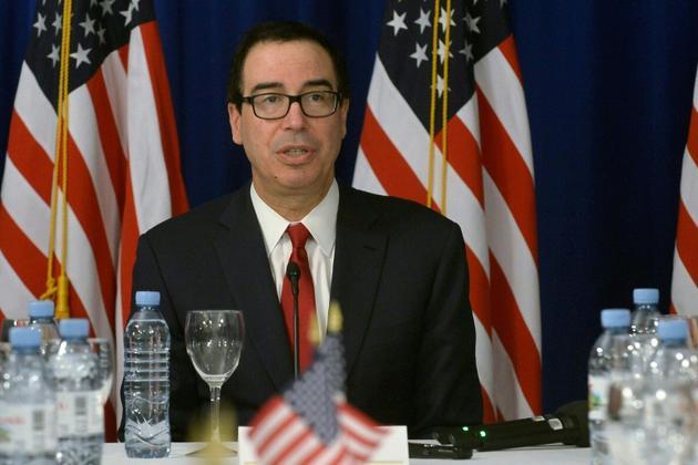Le secrétaire d'Etat au Trésor Steven Mnuchin lors d'une conférence de presse au G20 le 21 juillet 2018 à Buenos Aires [STR / AFP]