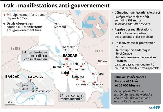Carte, données et localisation des manifestations anti-gouvernement en Irak depuis le 1er octobre [Gal ROMA / AFP]