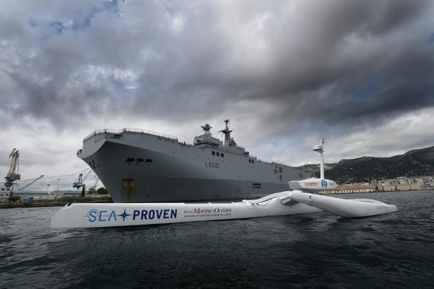 Le Sphyrna dans la rade de Toulon en France, le 13 août 2018 [Boris HORVAT / AFP]