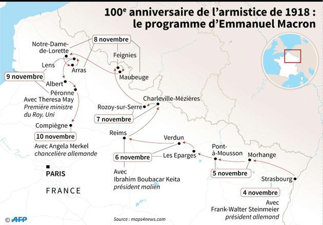 100e anniversaire de l'armistice : le périple de Macron [Simon MALFATTO / AFP]