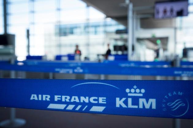 Les logos d'Air France KLM à l'aéroport de Roissy-Charles-de-Gaulle, le 6 août 2018 [JOEL SAGET / AFP/Archives]