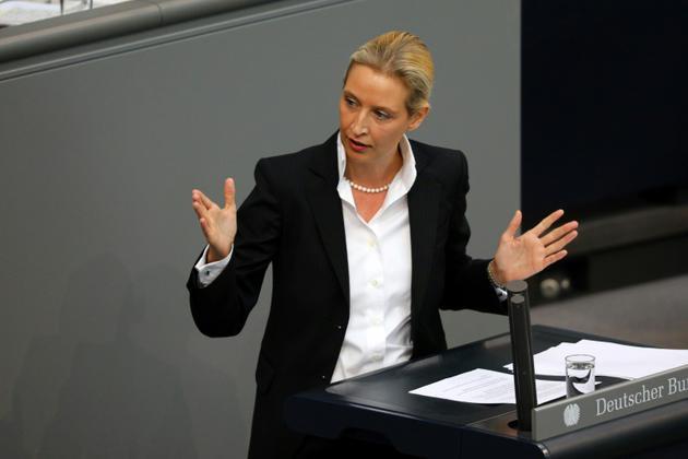 Alice Weidel, dirigeante du parti allemand AfD, au Bundestag à Berlin, le 4 juillet 2018 [Omer MESSINGER / AFP/Archives]