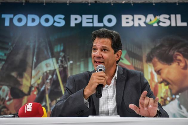 Le candidat du Parti des Travailleurs à l'élection présidentielle brésilienne Fernando Haddad, le 18 octobre 2018 [NELSON ALMEIDA / AFP/Archives]