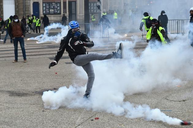 """Manifestation de """"gilets jaunes"""", le 12 janvier 2019 au Mans</p><p> [JEAN-FRANCOIS MONIER              / AFP]"""